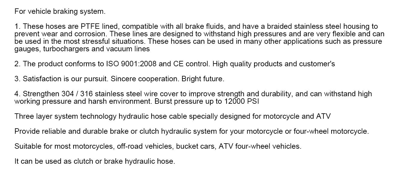 the application of ptfe brake hose
